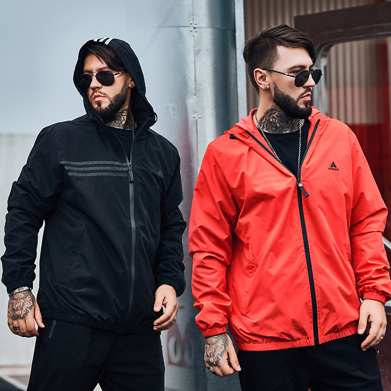 Super size mens fashion brand plus fat mens big version loose sports casual Hooded Jacket