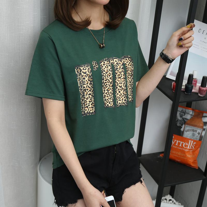 10# (实拍,有视频)6535棉 2019夏季新款豹纹印花短袖t恤女