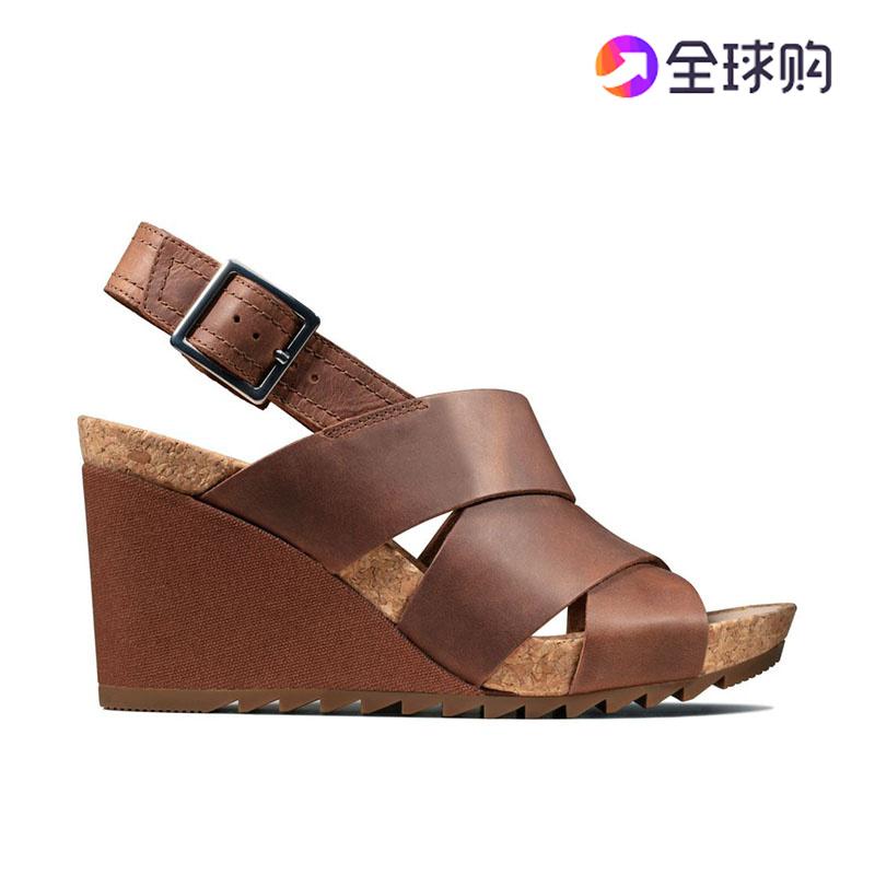 2020夏季新款正品Clarks其乐女鞋女凉鞋高跟坡跟代购Flex Sand