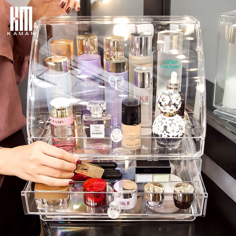 透明化妆品收纳盒防尘抽屉式梳妆台口红桌面大号网红护肤品置物架