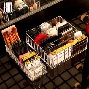 粉饼收纳盒眼影盘放口红的化妆品收纳盒透明抽屉分隔女气垫腮红架