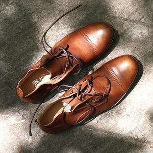 時尚英倫風馬丁靴男士圓頭真皮系帶靴子男高幫休閑復古靴潮流皮鞋