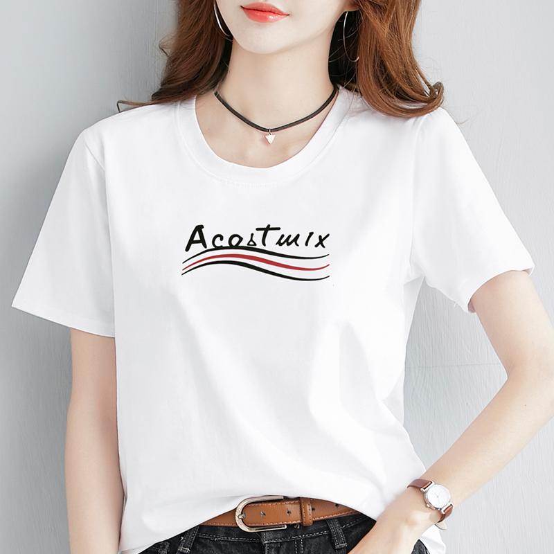 中國代購 中國批發-ibuy99 T恤女 白色短袖t恤女宽松韩版学生百搭半袖2021新款夏季纯棉大码上衣黑