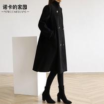 诺卡家高品质大码女装2020春装新款双排扣显瘦宽松胖妹妹毛呢外套