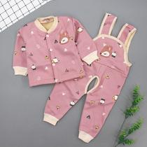儿童套装秋冬款婴幼儿加绒保暖背带套装男女宝宝加厚内衣两件套