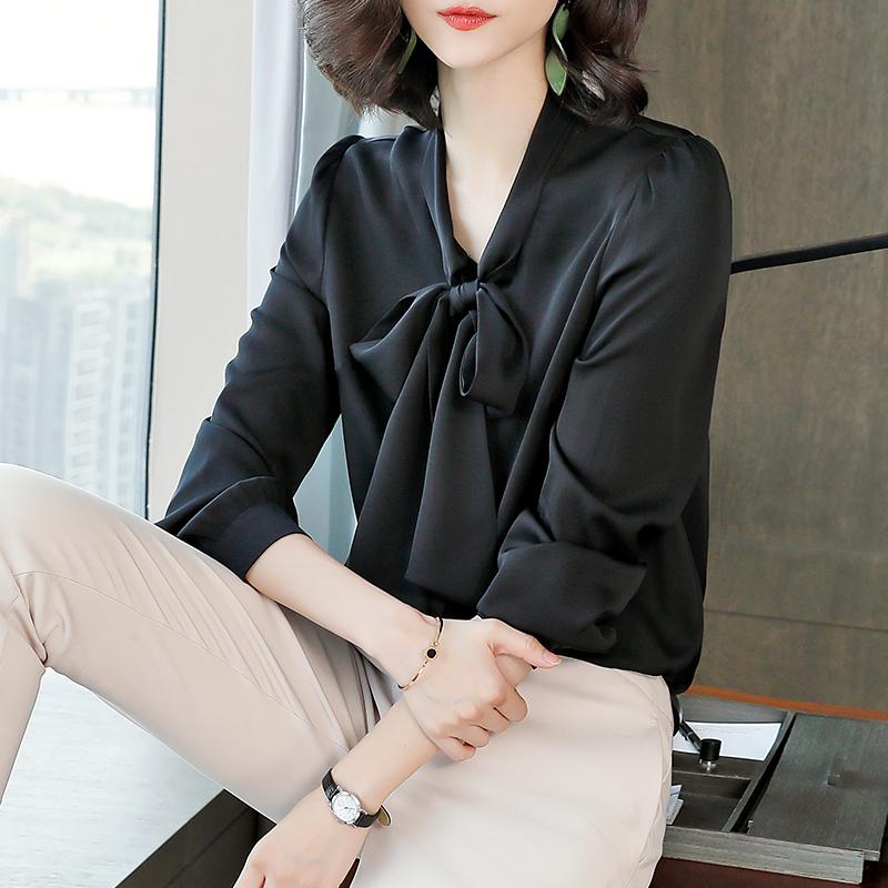 重磅真丝衬衫女2021年春夏新款黑色高端蝴蝶结杭州缎面桑蚕丝上衣