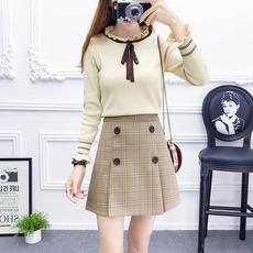 实拍2019年初春新款学院风套装小清新甜美系带毛衣显瘦格子半身裙