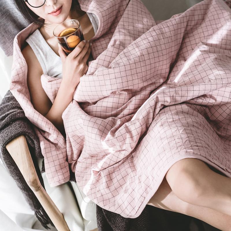 日式良品水洗棉纯棉冬被冬季格子夏凉被空调被全棉单人双人薄被子