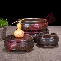 花盆景底座托盘架实木摆件花瓶鱼缸石头香炉工艺品奇石托架圆形
