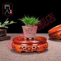 红木摆件底座托架圆形石头玉石摆件葫芦奇石茶壶花盆花架实木底座