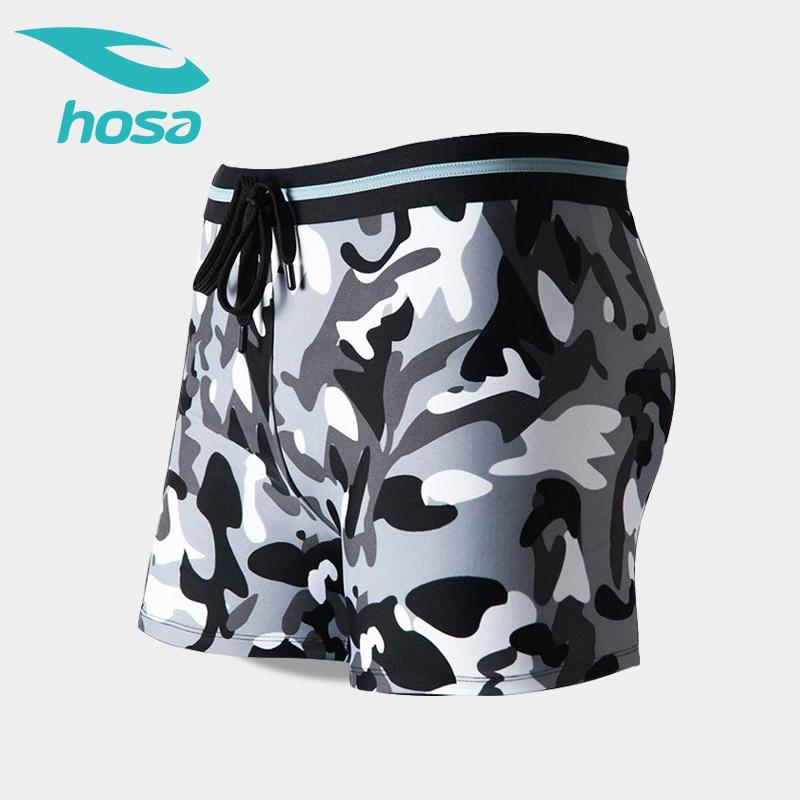 浩沙hosa男士泳裤平角 时尚迷彩专业泳衣 男 温泉游泳裤潮