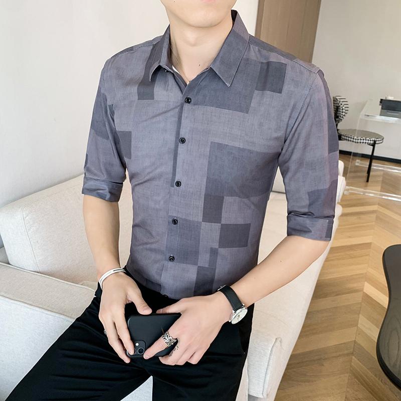 312A-110-P55 2021新款韩版修身帅气花衬衫英伦时尚男士衬衣B