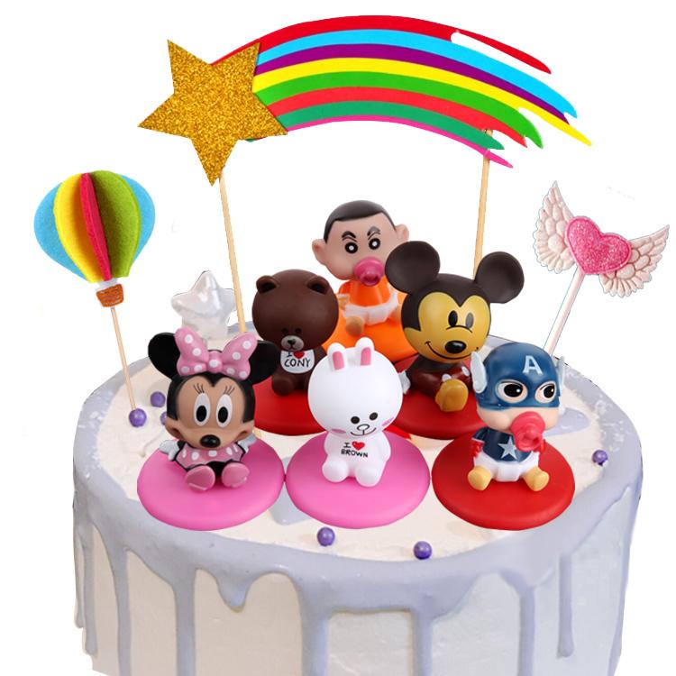 生日蛋糕装饰可摇头布朗熊可妮兔米奇米妮美国队长宝贝摆件玩具
