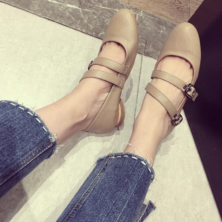 韩版平底罗马鞋女单鞋2017秋季新款圆头玛丽珍鞋皮带扣复古奶奶鞋