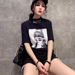 歐洲站2019新款韓版洋氣打底衫時尚百搭半袖t恤女短袖半高領上衣