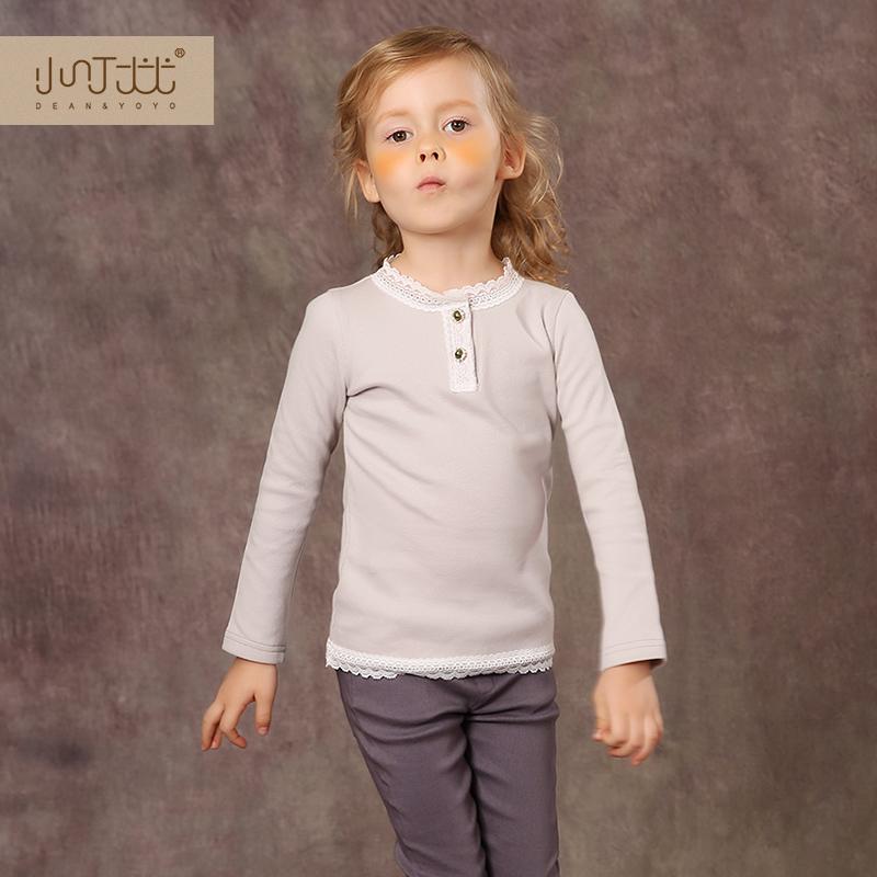 女童長袖打底衫 2016秋裝新品 甜美蕾絲兒童上衣 寶寶全棉T恤