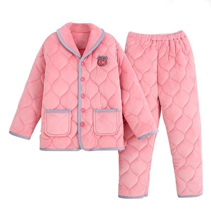 加厚珊瑚绒三层保暖棉袄睡衣