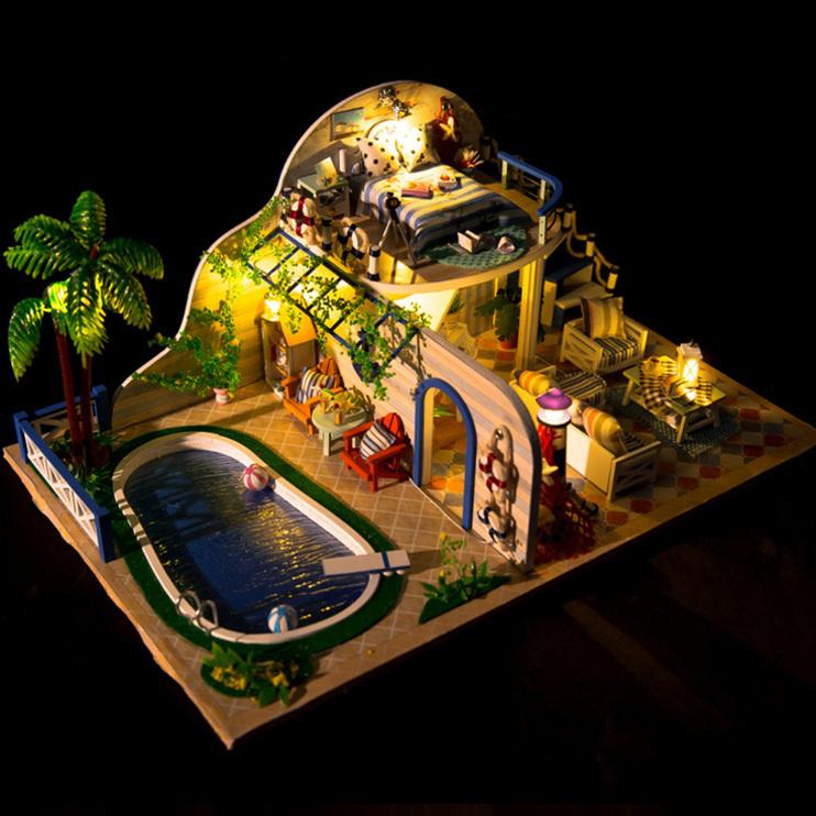 diy手工创意模型小屋拼装小房子玩具女生别墅公主房情侣生日礼物