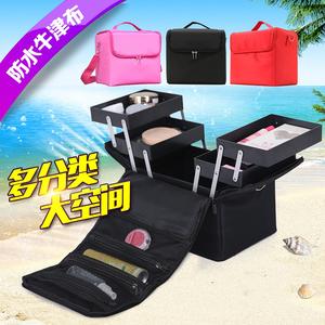 大号大容量收纳多层专业化妆包手提美甲纹绣彩妆半永久工具箱韩国