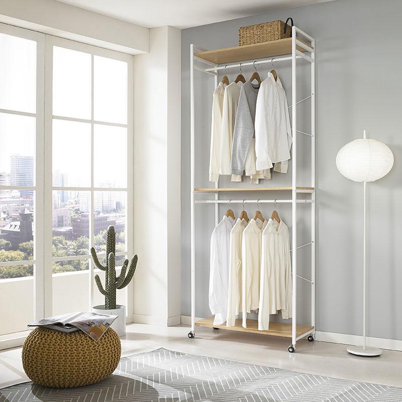 单杆开放式简易落地卧室衣帽架衣柜