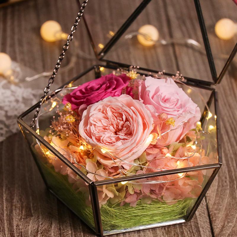 带灯玻璃罩永生花玫瑰diy康乃馨真花礼盒教师节送老师情人节礼物