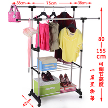 Double pole clothes hanger simple clothes stretching and drying clothes hanger floor folding indoor balcony stainless steel double pole