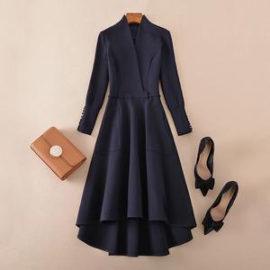 秋装九分袖中长款连衣裙女收腰v领礼服裙欧美高端气质秋季显瘦裙