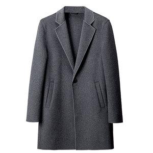 男一粒扣双面呢羊毛中长款毛呢大衣