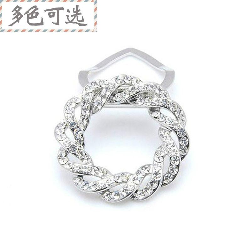 Genuine Brooch silk scarf button dual purpose silk scarf button female Korean diamond brooch full diamond Silk Scarf Clip suit accessories Brooch