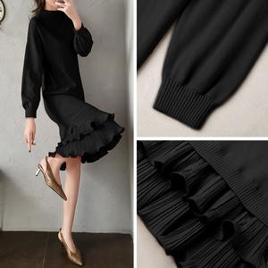 黑色針織連衣裙女2019新款秋冬季女裝長袖長款過膝長裙荷葉邊裙子