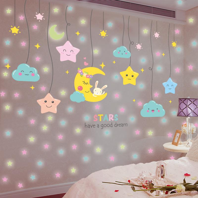 荧光儿童房主题背景墙3d立体贴画