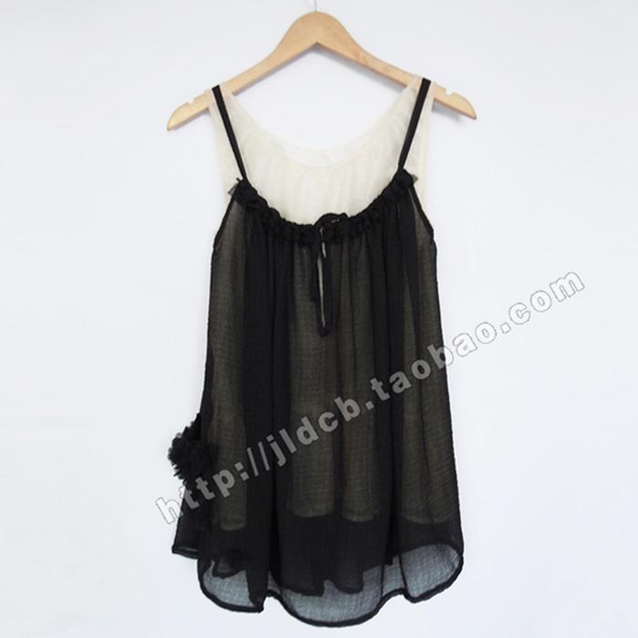日系甜美两件套吊带背心裙 原创设计夏季女装黑色木耳边森女服饰