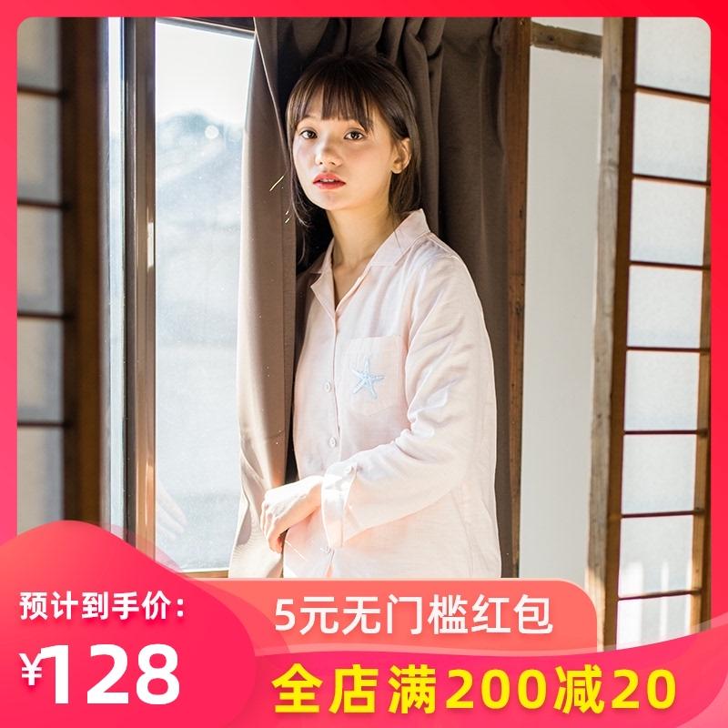 女士睡衣春夏薄款纯棉纱布长袖日系格子衬衫款简约纯色家居服套装
