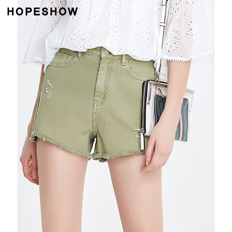 Red sleeve irregular hole hot pants summer new womens 2020 solid color thin versatile temperament washed jeans shorts