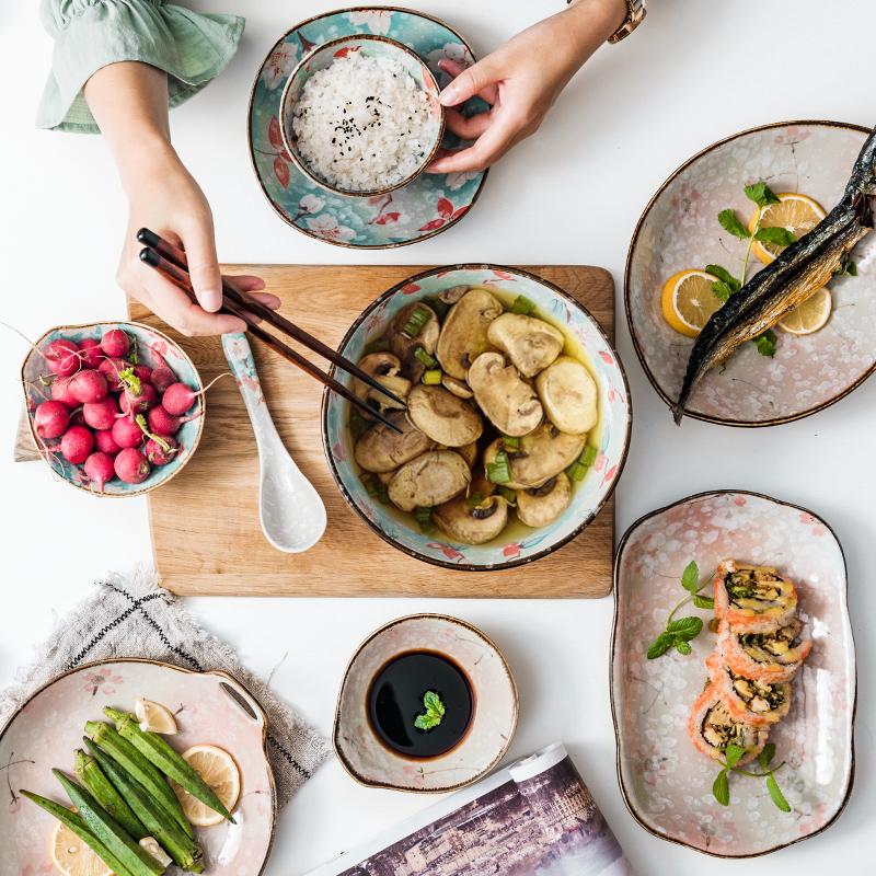 日式碗碟套装碗家用碗创意个性泡面碗陶瓷饭碗面碗餐具汤碗大号图片