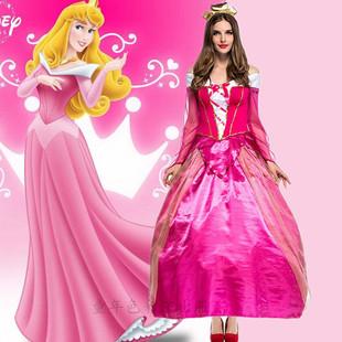 万圣节成人服装 爱洛公主cos童话剧睡美人公主裙化妆舞会礼服长裙