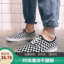非wans夏季透气一脚蹬布鞋低帮潮流百搭板鞋黑白格子鞋网红帆布鞋