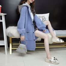 Very immortal sweater jacket mid-long women's autumn dress 2019 new Korean version of loose, small and fresh knitted cardigan overcoat