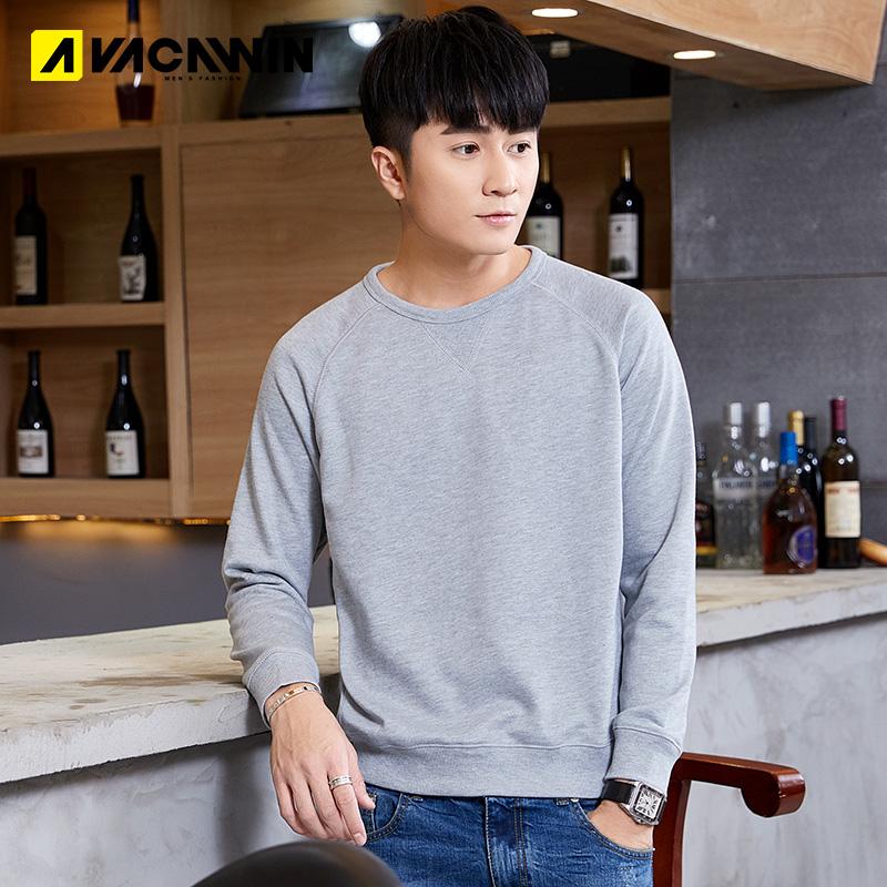 2020 Weiyi mens Korean fashion personality long sleeve shirt slim youth round neck thick base shirt Pullover