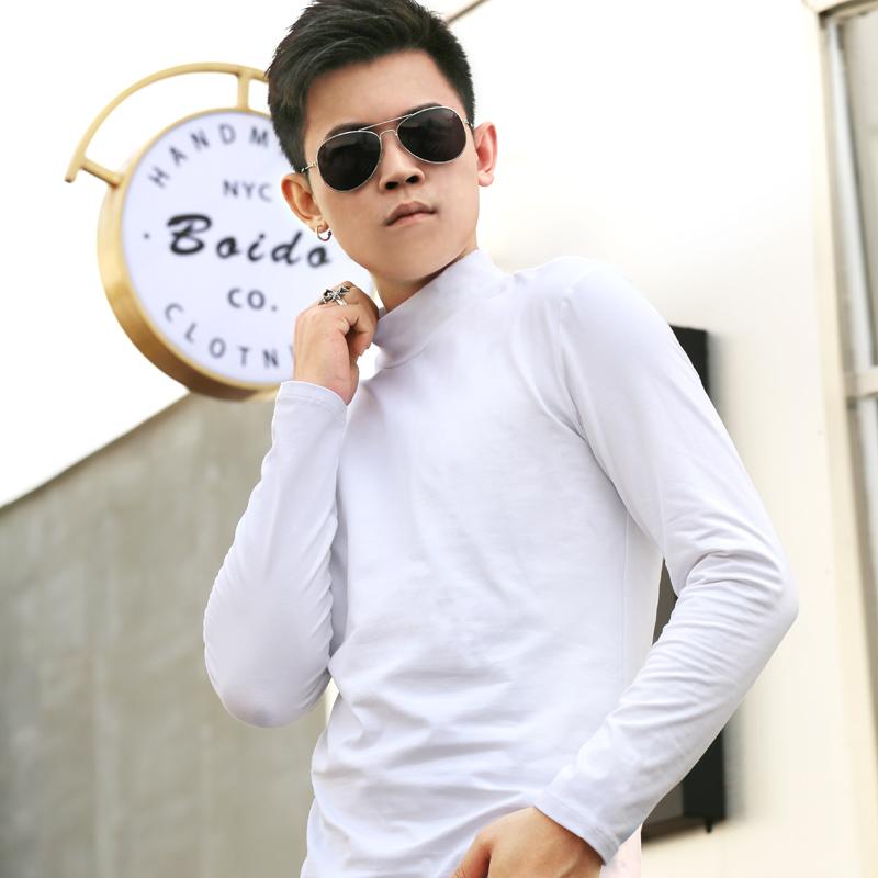 高领修身保暖打底衫T恤衫男长袖纯色纯棉潮牌磨毛抓绒休闲上衣服