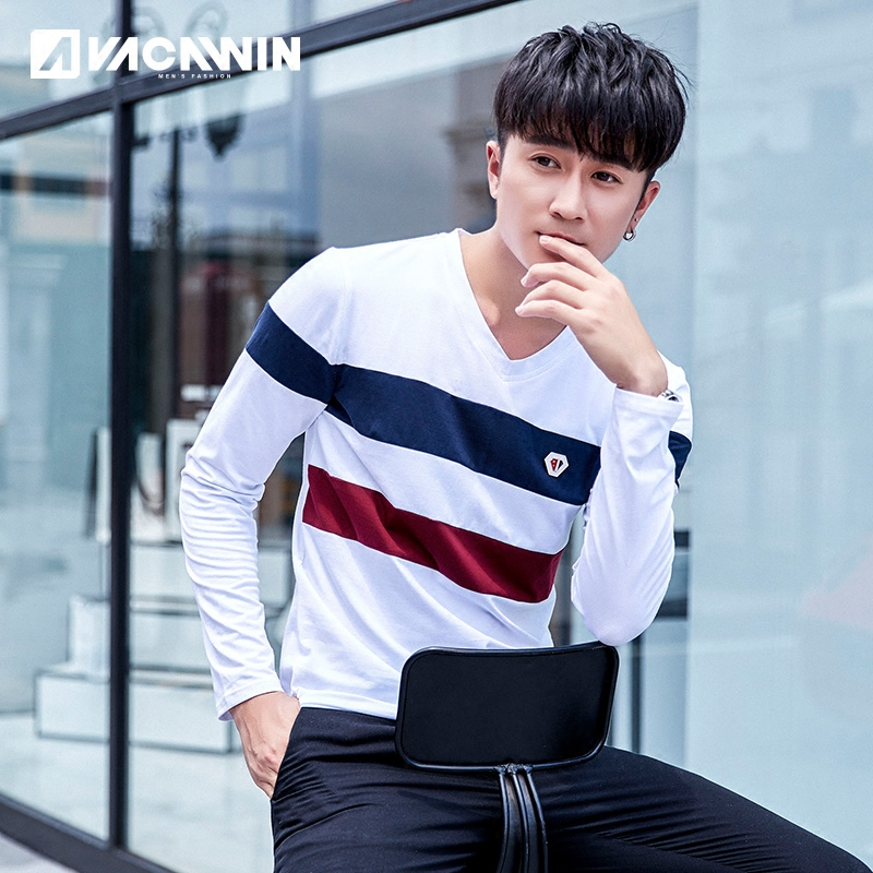 Long Sleeve Striped T-shirt pure cotton mens Pullover round neck Korean slim bottomed shirt casual top casual T-shirt fashion