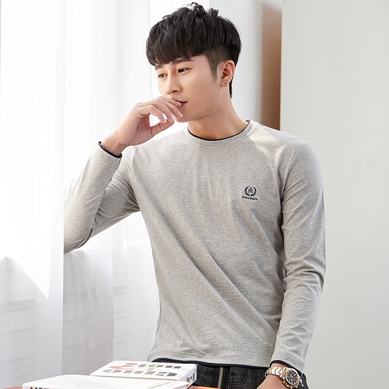 Solid color long sleeve t-shirt mens Korean fashion slim and versatile round neck cotton warm bottomed jacket