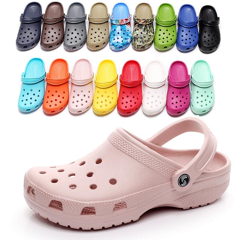 拖鞋洞洞鞋女沙滩鞋海边时尚可下水防滑包头外穿大码情侣凉鞋学生