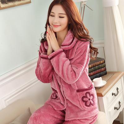 睡衣女秋冬加厚开衫法兰绒珊瑚绒睡衣套装中老年保暖妈妈装家居服