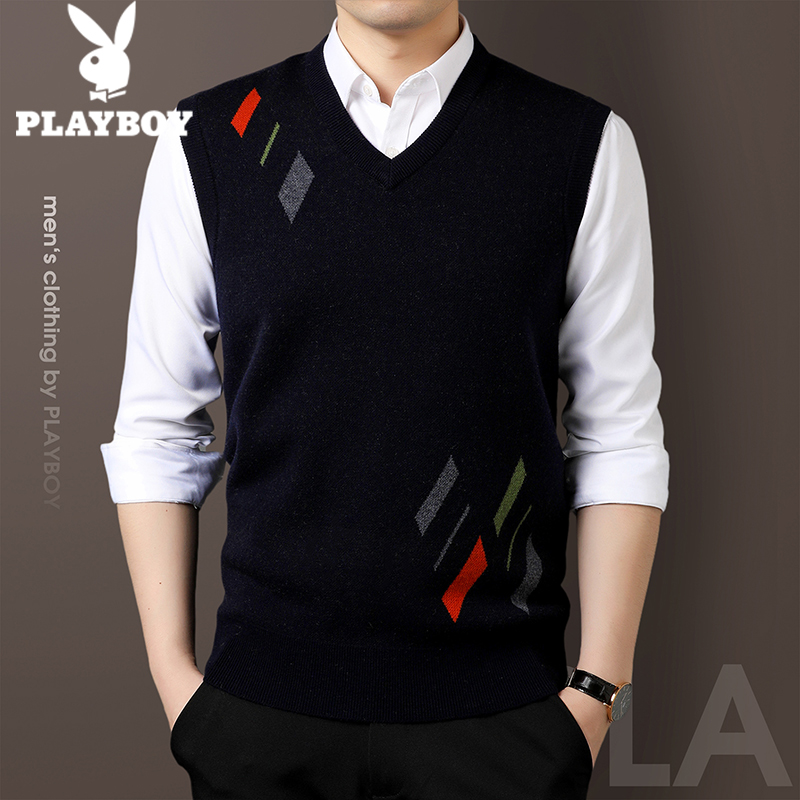 Playboy autumn and winter pure wool men's vest sweater vest V-neck sleeveless knitted casual cardigan vest