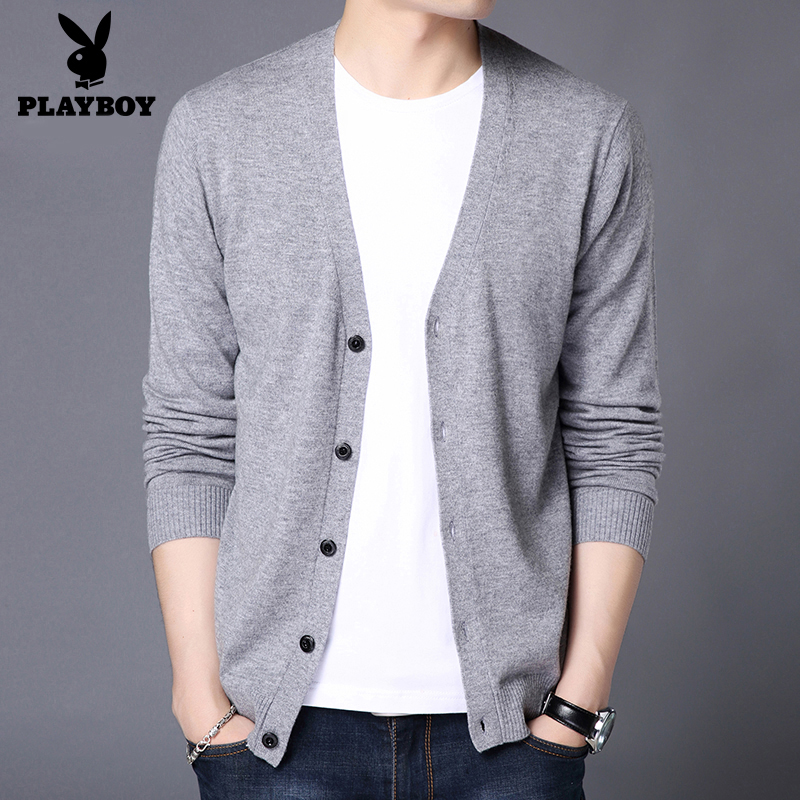Playboy winter cardigan men's cardigan V-neck outer wear pure wool bottoming sweater knitted sweater coat trend
