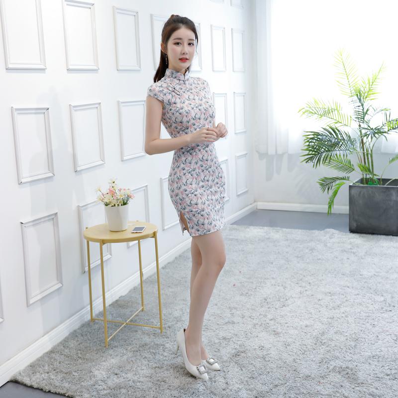 祺袍女2018新款时尚修身少女性感优雅日常清新显瘦短款旗袍改良版