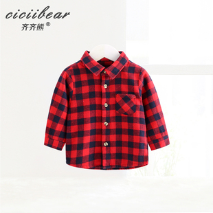 The new spring opt Bear male and female baby jacket collar long-sleeved plaid shirt infant shirt