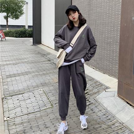 2019初秋网红洋气假两件长袖阔腿裤