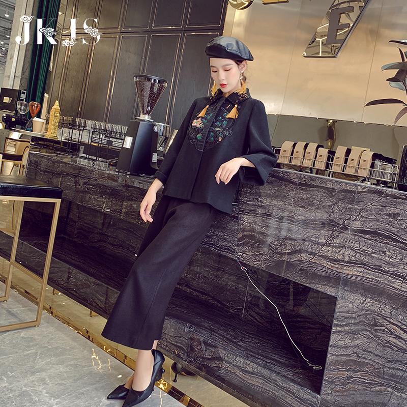 限3000张券唐装套装女复古风汉服上衣冬装时尚两件套少女中式外套中国风女装